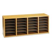 Safco 9423MO Oak Wood Adjustable Literature Organizer- 24 Compartment