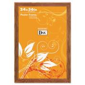 Plastic Poster Frame, Traditional Clear Plastic Window, 24 x 36, Medium Oak