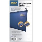 Leatherette Zipper Wallet Deposit Bag, Nylon, 6 x 11, Blue, 3 Bags/Pack