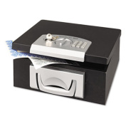 Electronic Cash Box, 12-7/8 x 11-1/8 x 6-1/4, Combination Lock, Black