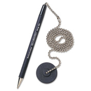 Secure-A-Pen Ballpoint Counter Pen with Base, Black Ink, Medium