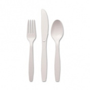 Plastic Cutlery, Heavyweight Knives, White, 100/Box