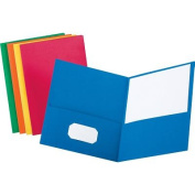 Twin-Pocket Folder, Embossed Leather Grain Paper, Assorted Colors