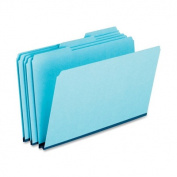 Pressboard Expanding File Folders, 1/3 Cut Top Tab, Legal, Blue, 25/Box