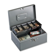 Cash Box with Cantilever Coin Tray, Disc Lock, Gray