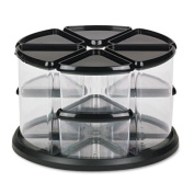 9 Canister Carousel Organizer, Plastic, 11 1/8 x 11 1/8, Black/Clear