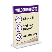 Stand-Up Double-Sided Sign Holder, Plastic, 8 1/2 x 11, Clear