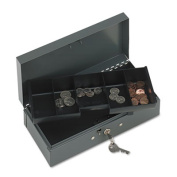 STEELMASTER Locking Steel Bond Box with Cash Tray, Includes Keys, 10.25 x 7.3cm x 12cm , Grey