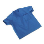 ComfortEase Scrub Tops, Washable, Poly/Cotton, Small, Sky Blue