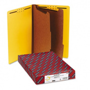 Pressboard End Tab Classification Folders, Legal, Six-Section, Yellow, 10/Box