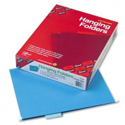 Hanging File Folders, 1/5 Tab, 11 Point Stock, Letter, Sky Blue, 25/Box