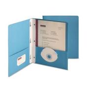 "Paper Two-Pocket Portfolio, Tang Clip, Letter, 1/2"" Capacity, Blue, 25/Box"