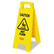 """""""Caution Wet Floor"""" Floor Sign, Plastic, 11 x 1 1/2 x 26, Bright Yellow"""
