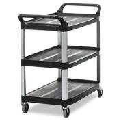 Open Sided Utility Cart, Three-Shelf, 40-5/8w x 20d x 37-13/16h, Black