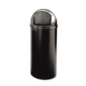Marshal Classic Container, Round, Polyethylene, 25gal, Black