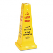 Rubbermaid Commercial 6277-77 Four-Sided Caution- Wet Floor Safety Cone- 10-1/2w x 10-1/2d x 25-5/8h- Yellow