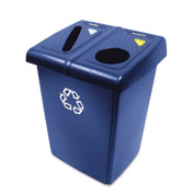Glutton Recycling Station, Rectangular, Plastic, 46 gal, Blue