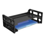 Universal 08100 Side Load Letter Desk Tray- 2 Tier- Plastic- Black