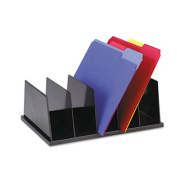 Large Desktop Sorter, Five Sections, Plastic, 13 1/2 x 9 1/8 x 5, Black