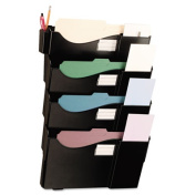 Grande Central Filing System, Four Pocket, Wall Mount, Plastic, Black 08137