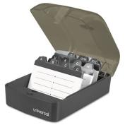 Push-Button Business Card File, Plastic, 4 x 5 3/4 x 2 3/4, Black/Smoke