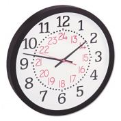 "Two-Color Numerals Wall Clock, 13-1/2"", Black"