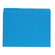 Recycled Interior File Folders, 1/3 Cut Top Tab, Letter, Blue, 100/Box