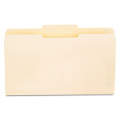 File Folders, 1/3 Cut Second Position, One-Ply Top Tab, Legal, Manila, 100/Box