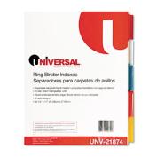 Universal 21874 Extended Indexes Assorted Color Five-Tab Letter Buff Six Sets per Box