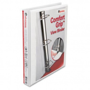"Comfort Grip Deluxe Plus D-Ring View Binder, 1"" Capacity, 8-1/2 x 11, White"