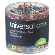 Paper Clips, Vinyl Coated Wire, Jumbo, Assorted Colors, 250/Pack