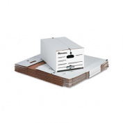 Economy Storage Box w/Tie Closure, Legal, Fiberboard, White, 4/Carton