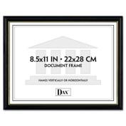 DAX Two-Tone Document/Diploma Frame, Wood, 22cm x 28cm , Black with Gold Leaf Trim