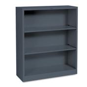 Metal Bookcase, Three-Shelf, 34-1/2w x 12-5/8d x 41h, Charcoal