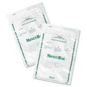 Plastic Money Bags, Tamper Evident, 9 x 12, White, 50/Pack