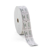 Consecutively Numbered Double Ticket Roll, White, 2000 Tickets/Roll