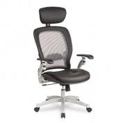 Light Air Grid Executive Chair w/Headrest, Leather Upholstery, Black/Platinum