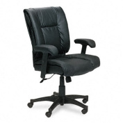 Office Star EX9381-3 Deluxe Mid Back Executive Deluxe Coated Black Leather Chair with Pillow Top Seat and Back- G3 Black Top Grain Leather