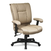 Office Star EX9381-1 Deluxe Mid Back Executive Deluxe Coated Tan Leather Chair with Pillow Top Seat and Back- G1 Tan Top Grain Leather