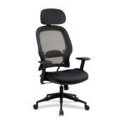 Office Star Air Grid Back Visitors Chair with Mesh Seat Adjustable Angled Arms and Sled Base - 5505