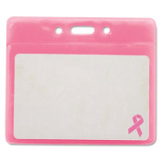 "Breast Cancer Awareness Badge Holder, Horizontal, 3 1/2"" x 2 1/2"", Pink, 25/Pack"
