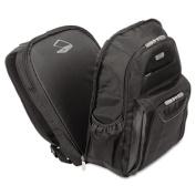 """Zip-Thru Air Traveler Backpack, Fits 16"""" Widescreen Laptop, Polyester, Black"""