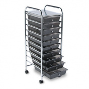 Portable Drawer Organizer, 15-1/4w x 13d x 37-5/8h, Smoke/Chrome