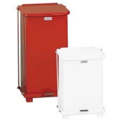Rubbermaid Commercial ST12EPLRD Defenders Biohazard Step Can- Square- Steel- 12 gal- Red