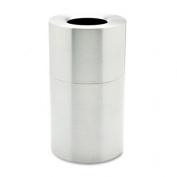 Two-Piece Open Top Indoor Receptacle, Round, Satin Aluminum, 35gal