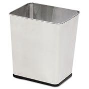 Wastebasket, Rectangular, Steel, 7.25 gal, Stainless Steel