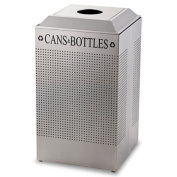 Silhouette Can/Bottle Recycling Receptacle, Square, Steel, 29 gal, Black