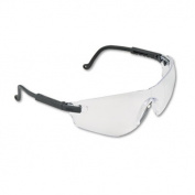 Falcon Wraparound Frameless Safety Glasses, Black Plastic Frame, Clear Lens