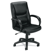 Basyx VL161SB11 Vl161 Executive Mid-Back Chair Black Leather