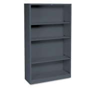 Metal Bookcase, Four-Shelf, 34-1/2w x 12-5/8d x 59h, Charcoal